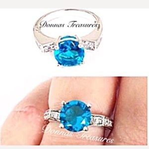 💐1.25 Carat Blue Zircon Birthstone Ring